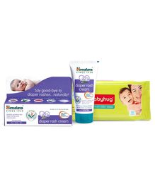 Babyhug Premium Baby Wipes - 80 Pieces AND Himalaya Herbal Diaper Rash Cream - 50 gm