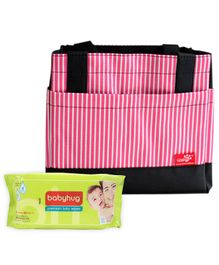 Babyhug Premium Baby Wipes - 80 Pieces AND EZ Life Thermal Lunch Box Bag - Pink