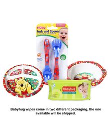 Babyhug Premium Baby Wipes - 80 Pieces AND Three Section Plate - Winnie The Pooh AND Bowl - Winnie The Pooh AND Nuby Fork And Spoon - Red And Blue