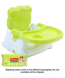Babyhug Premium Baby Wipes - 80 Pieces AND Babyhug Raise Me Up Baby Booster Seat - Green & White