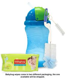 Babyhug Premium Baby Wipes - 80 Pieces AND Little's Sport Sipper Blue - 300 ml AND Pigeon Bottle and Nipple Brush Blue