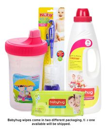 Babyhug Premium Baby Wipes - 80 Pieces AND Babyhug Liquid Multi Purpose Cleanser - 1000 ml AND Nuby Bottle And Nipple Brush - Blue AND Morisons Baby Dreams - Spill Free Feeding Cup