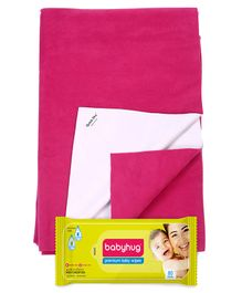 Babyhug Premium Baby Wipes - 80 Pieces AND Quick Dry Bed Protector Orchid - Small