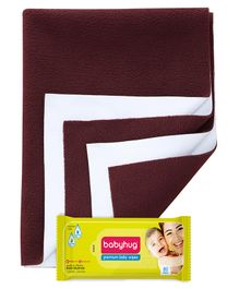 Babyhug Premium Baby Wipes - 80 Pieces AND Quick Dry Bed Protector Large - Maroon