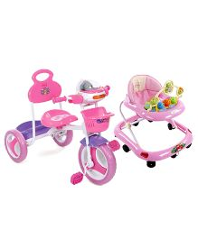 Babyhug Jolly Stroll Baby Walker - Pink AND Babyhug Funride Tricycle - Pink