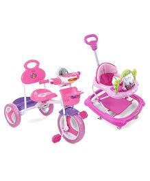 Babyhug Tiny Trotter Musical Baby Walker - Pink ANDBabyhug Funride Tricycle - Pink