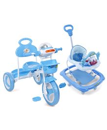 Babyhug Tiny Trotter Musical Baby Walker - Blue ANDBabyhug Funride Tricycle - Blue