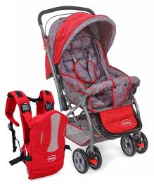 Babyhug Cosy Cosmo Stroller - Bright Red ANDBabyhug Snuggle Me 3 Way Baby Carrier - Red