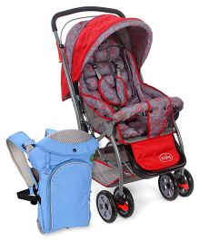 Babyhug Cosy Cosmo Stroller - Bright Red AND Babyhug Comfort Nest 3 Way Baby Carrier - Sky Blue