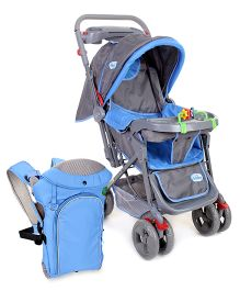 Babyhug Elite Stroller - Sky Blue AND Babyhug Comfort Nest 3 Way Baby Carrier - Sky Blue