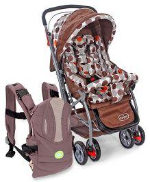 Babyhug Cosy Cosmo Stroller - Coffee Brown AND Babyhug Snuggle Me 3 Way Baby Carrier - Grey & Wheat