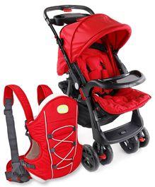 Babyhug Wander Buddy Stroller - Red AND Babyhug Cuddle Up 3 Way Baby Carrier - Red