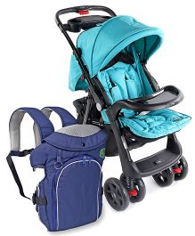 Babyhug Wander Buddy Stroller - Green AND Babyhug Comfort Nest 3 Way Baby Carrier - Navy Blue