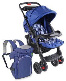 Babyhug Wander Buddy Stroller - Blue AND Babyhug Comfort Nest 3 Way Baby Carrier - Navy Blue