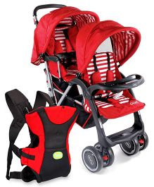 Babyhug Twinster Stroller - Red AND Babyhug Kangaroo Pouch 3 Way Baby Carrier - Red & Black