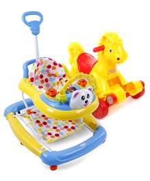 Babyhug Rock O Ride Pony Ride-on - Yellow AND Babyhug Mini Steps Baby Walker - Yellow & Blue