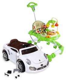 Babyhug Dream Car 6V Rechargeable Battery Operated Ride On - White AND Babyhug Little Explorer Walker cum Rocker - Green