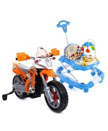 Babyhug Kids Dirt Bike 6V Rechargeable Battery Operated Ride On - Orange AND Babyhug Little Explorer Walker cum Rocker - Blue