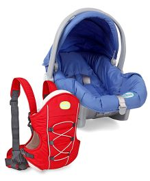 Babyhug Take Me Along Car Seat cum Carrycot - Blue AND Babyhug Cuddle Up 3 Way Baby Carrier - Red
