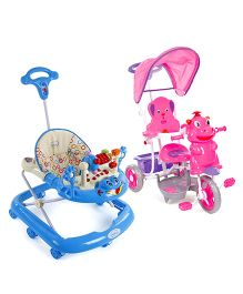 Babyhug Happy Hippo Tricycle With Canopy - Pink AND Babyhug First Walk Musical Baby Walker - Blue