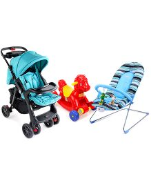 Babyhug Tiny Tots Musical Baby Bouncer - Blue AND Babyhug Rock ORide Pony Ride-on - Red AND Babyhug Wander Buddy Stroller - Green