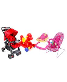 Babyhug Tiny Tots Musical Baby Bouncer - Pink AND Babyhug Rock O Ride Pony Ride-on - Red AND Babyhug Wander Buddy Stroller - Red AND Babyhug Happy Duck Musical Walker - Pink