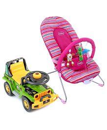 Babyhug Tiny Tots Musical Baby Bouncer - Pink AND Babyhug Jungle Safari Foot To Floor Ride-On  - Green & Yellow