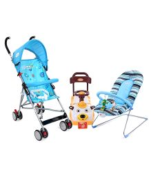 Babyhug Tiny Tots Musical Baby Bouncer - Blue AND Babyhug Teddy Foot To Floor Ride-On - White Face AND Babyhug Flexilite Buggy - Blue
