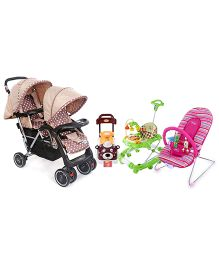 Babyhug Tiny Tots Musical Baby Bouncer - Pink AND Babyhug Teddy Foot To Floor Ride-On - Brown Face AND Babyhug Twinster Stroller - Coffee Brown AND Babyhug Little Explorer Walker cum Rocker - Green