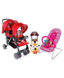Babyhug Twinster Stroller - Red AND Babyhug Tiny Tots Musical Baby Bouncer - Pink AND Babyhug Teddy Foot To Floor Ride-On - White Face
