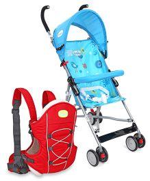 Babyhug Cuddle Up 3 Way Baby Carrier - Red AND Babyhug Flexilite Buggy - Blue