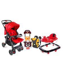 Babyhug 3 way Baby Carrier, Duck Musical Walker, Foot to Floor Ride On And Buddy Stroller.