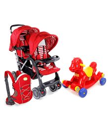 Babyhug Cuddle Up 3 Way Baby Carrier - Red AND Babyhug Twinster Stroller - Red AND Babyhug Rock O Ride Pony Ride-on - Red