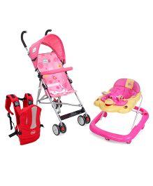 Babyhug Snuggle Me 3 Way Baby Carrier - Red AND Babyhug Flexilite Buggy - Pink AND Babyhug Happy Duck Musical Walker - Pink