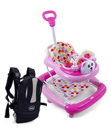 Babyhug Mini Steps Baby Walker - Pink & Cream AND Babyhug Snuggle Me 3 Way Baby Carrier - Black