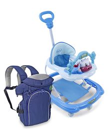 Babyhug Tiny Trotter Musical Baby Walker - Blue AND Babyhug Comfort Nest 3 Way Baby Carrier - Navy Blue
