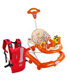 Babyhug Honey Bee Musical Baby Walker - Orange AND Babyhug Snuggle Me 3 Way Baby Carrier - Red