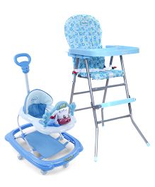 Babyhug Happy Meal High Chair - Blue AND Babyhug Tiny Trotter Musical Baby Walker - Blue