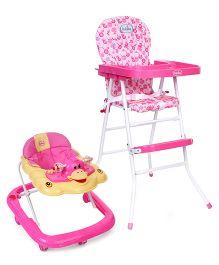Babyhug Happy Meal High Chair - Pink AND Babyhug Happy Duck Musical Walker - Pink