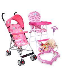 Babyhug Happy Meal High Chair - Pink AND Babyhug First Walk Musical Baby Walker - Pink AND Babyhug Flexilite Buggy - Pink
