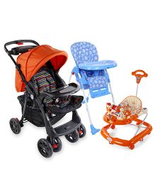 Babyhug Easy Diner High Chair - Blue AND Babyhug First Walk Musical Baby Walker - Orange AND Babyhug Wander Buddy Stroller - Orange & Black