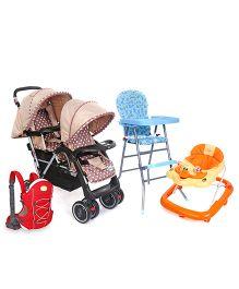 Babyhug Happy Meal High Chair - Blue AND Babyhug Happy Duck Musical Walker - Orange AND Babyhug Twinster Stroller - Coffee Brown ANDBabyhug Cuddle Up 3 Way Baby Carrier - Red