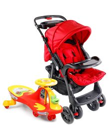 Babyhug Wander Buddy Stroller - Red AND Babyhug Froggy Gyro Swing Car - Red