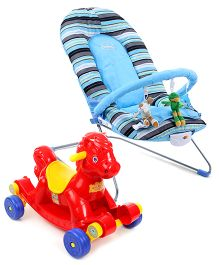 Babyhug Tiny Tots Musical Baby Bouncer - Blue AND Babyhug Rock O Ride Pony Ride-on - Red