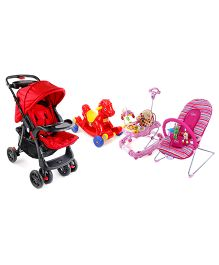 Babyhug Tiny Tots Musical Baby Bouncer - Pink AND Babyhug Rock O Ride Pony Ride-on - Red AND Babyhug Wander Buddy Stroller - Red AND Babyhug Little Explorer Walker cum Rocker - Pink