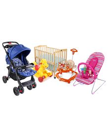 Babyhug keep Me Close Cot, Baby Bouncer, Baby Walker,Baby Ride On And Stroller