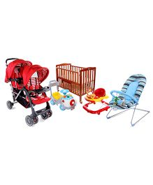 Babyhug Keep Me Close Cot, Baby Bouncer, Musical Walker, Fun N Learn Ride On And Twinster Stroller.