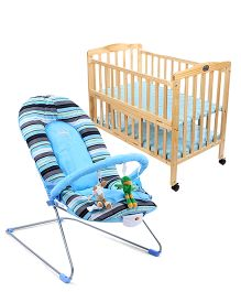 Babyhug Tiny Tots Musical Baby Bouncer - Blue AND Babyhug Keep Me Close Cot - Natural