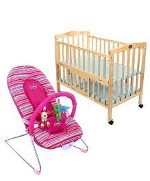 Babyhug Tiny Tots Musical Baby Bouncer - Pink AND Babyhug Keep Me Close Cot - Natural