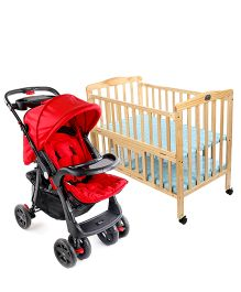 Babyhug Keep Me Close Cot - Natural AND Babyhug Wander Buddy Stroller - Red